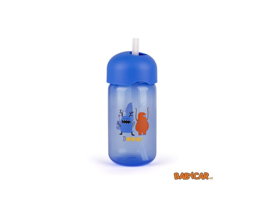 SUAVINÉX láhev s brčkem BOOO 340ml Modrá