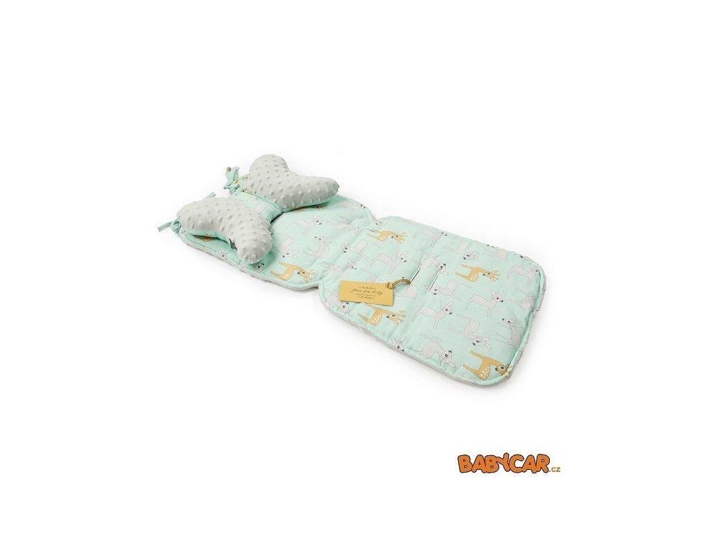 FLOO FOR BABY vložka do kočárku + polštářek Gray Mintbambi
