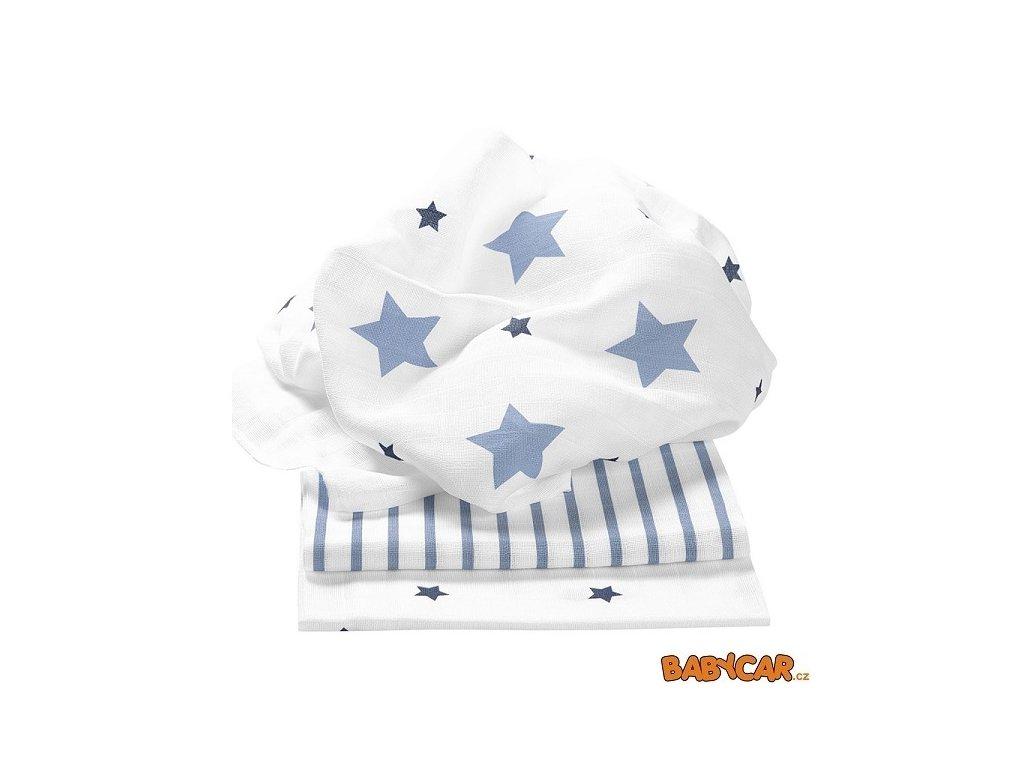 ODENWÄLDER bavlněné pleny 80x80cm 3ks Stars and Stripes Ice Blue