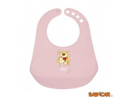 CANPOL BABIES plastový bryndák HAPPY ANIMALS Růžová