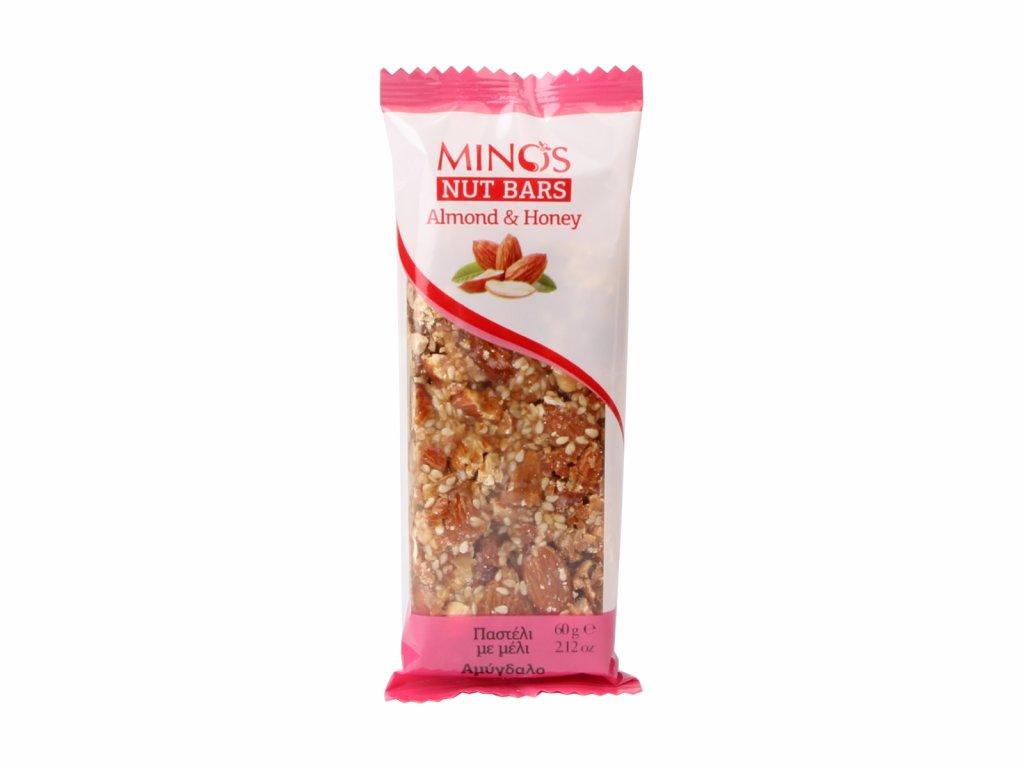 MINOS Ořechová tyčinka Mandle a med, 60 g