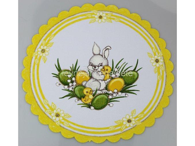 Velikonoční ubrus žlutý zajíček kulatý 35 cm