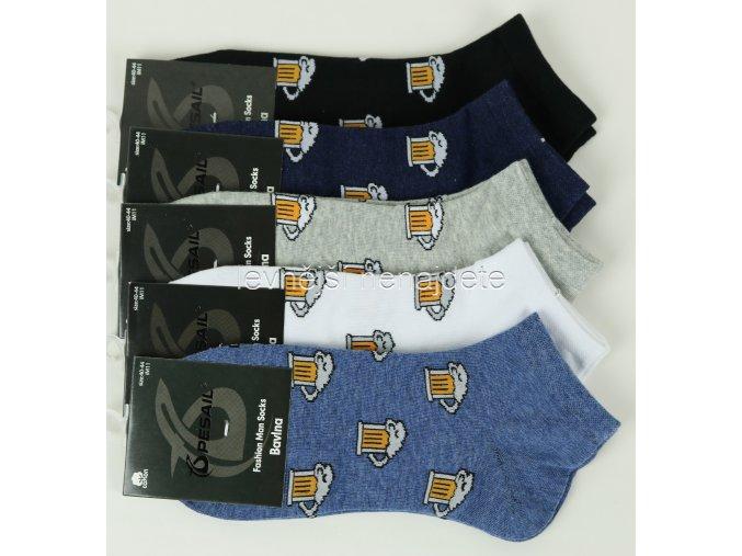 Pánské bavlněné kotníkové ponožky pivo 3 páry