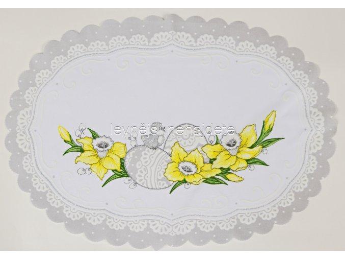 Velikonoční ubrus stříbrný vajíčka ovál 35 x 47 cm