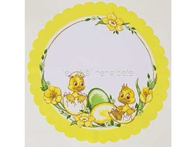 Velikonoční ubrus žlutý kulatý kuř 34 cm