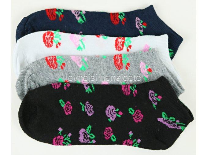 Dámské kotníkové bavlněné ponožky růže 3 páry