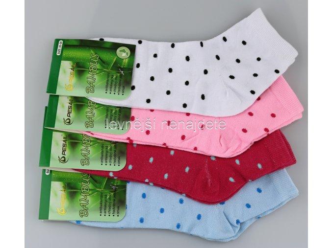 Dámské bambusové ponožky puntík 3 páry